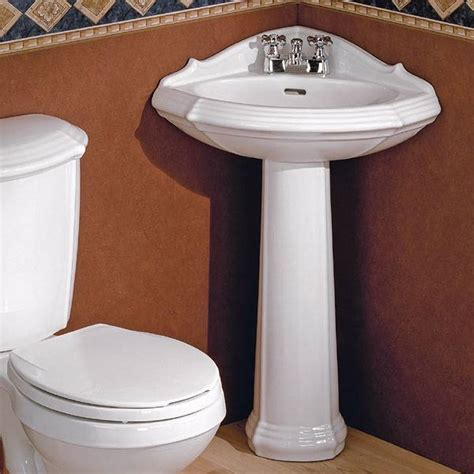 Corner Pedestal Sinks For Small Bathrooms Sinks And Cheviot 930w Sheffield Corner Pedestal Sink White Atg