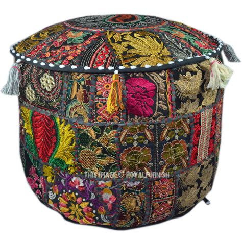 indian pouf ottoman black bohemian patchwork floor seating indian round