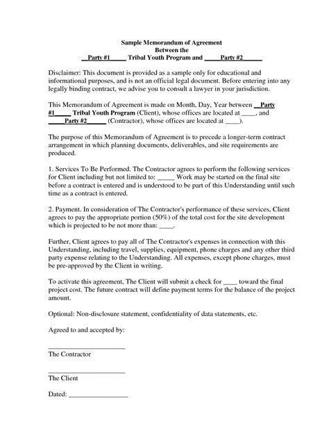 Template Memorandum Of Agreement image gallery memorandum agreement
