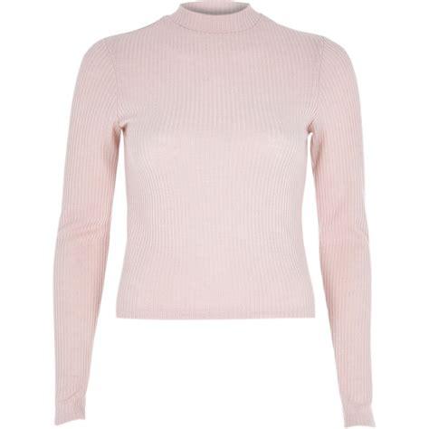 light pink long sleeve top river island light pink ribbed long sleeve high neck top