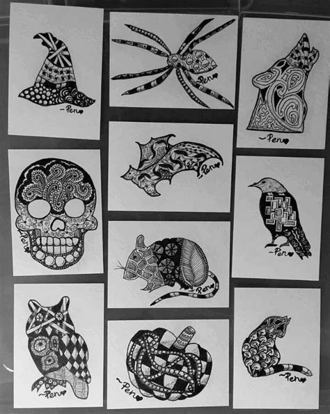 halloween zentangle coloring pages 1000 images about zentangle halloween on pinterest owl
