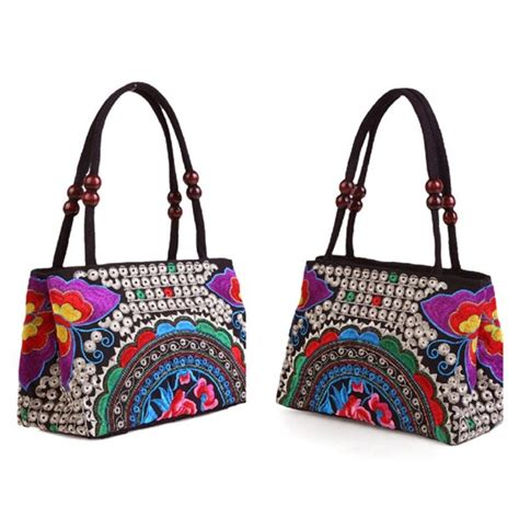 women embroidered handbag canvas satchel ethnic flower