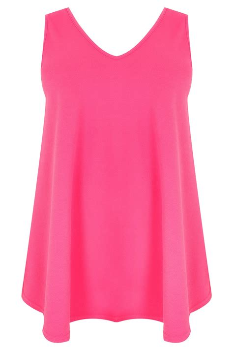 pink swing top hot pink sleeveless swing top plus size 16 to 36