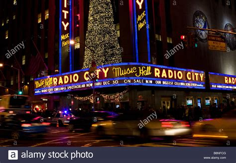 radio city christmas tree lights are seen on the outside of the radio city stock photo royalty free