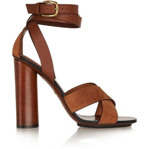 brown sandal heels gucci leather and suede sandals found on polyvore