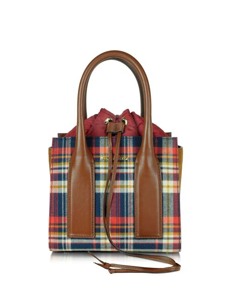 Plaid Bag lyst dsquared 178 peaks and blue plaid shoulder