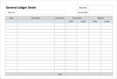general ledger sheet template entry bookkeeping