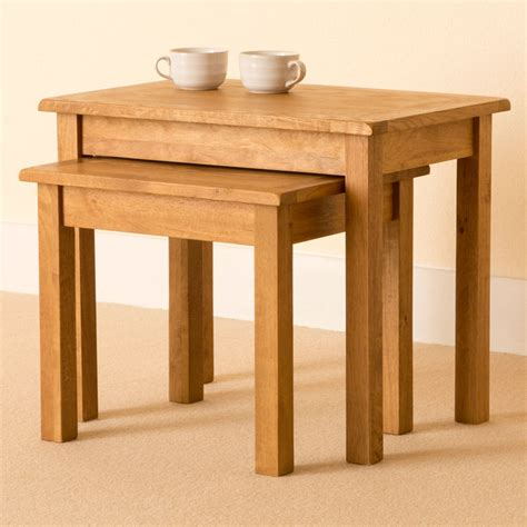 lanner oak nest of tables rustic side tables small