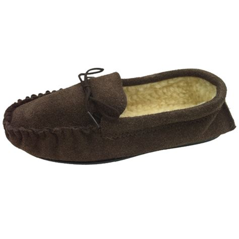 slipper tool mens brown size 10 fur lined moccasin slippers tools