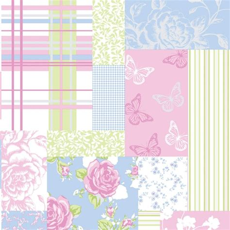Patchwork Wallpaper - coloroll pollyanna patchwork floral wallpaper green blue