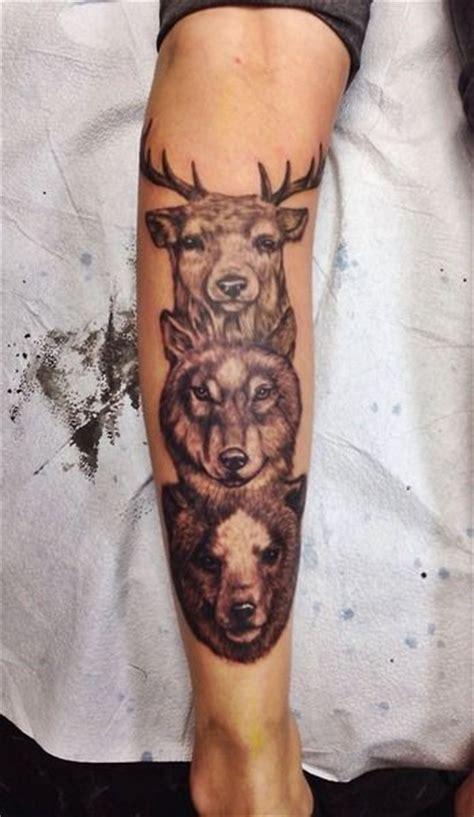 tattoo animal totem tattoo deer wolf bear animal face totem ink