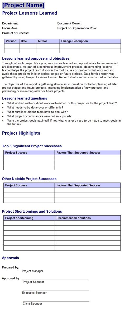 project lessons learned template sle