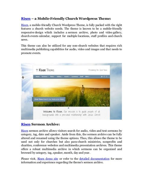 wordpress themes that are mobile friendly risen mobile friendly church wordpress theme