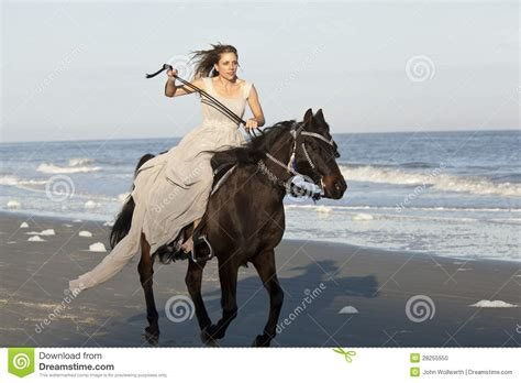 Woman On Galloping Horse On Beach Stock Photo Image Of