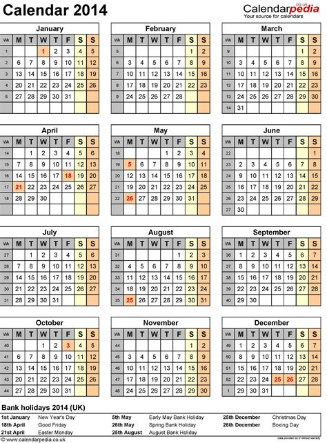 calendar 2014 template uk 2014 yearly calendar with holidays