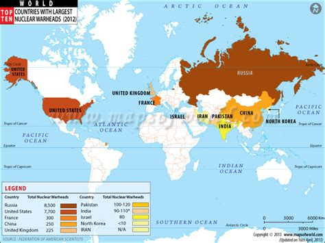 nuclear map countries with nuclear weapons