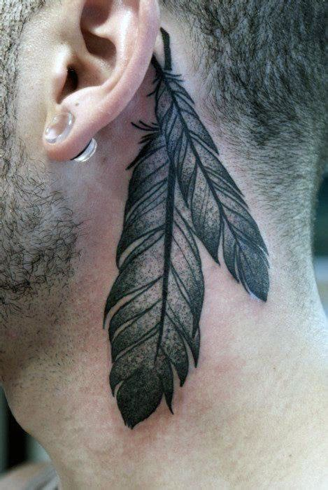feather tattoo back of neck top 40 best neck tattoos for men manly designs and ideas