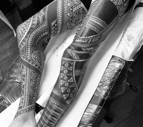 full leg tribal tattoos 40 polynesian leg designs for manly tribal ideas