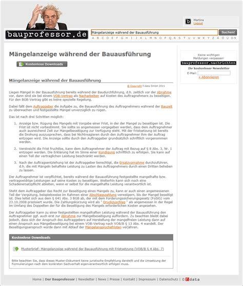 Musterbriefe Vob 220 Ber 200 Kostenlose Vob Musterbriefe Bei Bauprofessor De Pressemeldung Vom 14 07 2011