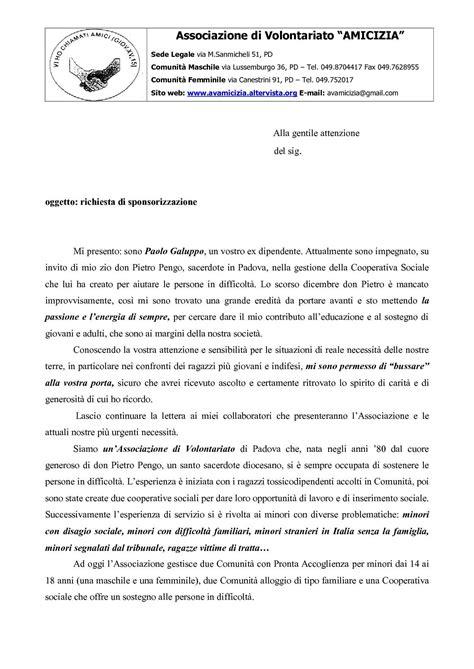 Lettera Di Presentazione Per Banca by Calam 233 O Lettera Per Richiesta Di Sponsorizzazione