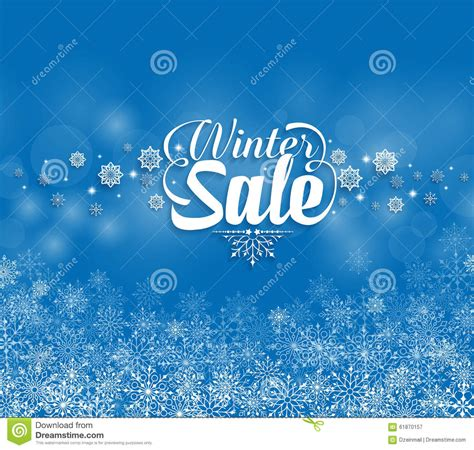 winter sale text in snowflakes blue background stock