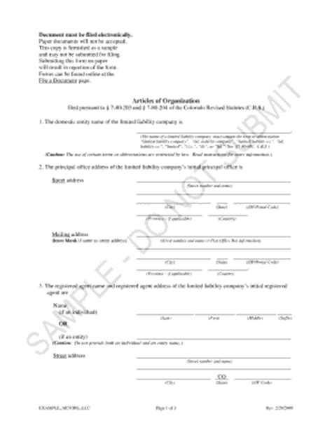 Blank Llc Form Of Organization Colorado Fill Online Printable Fillable Blank Pdffiller Articles Of Incorporation Colorado Template