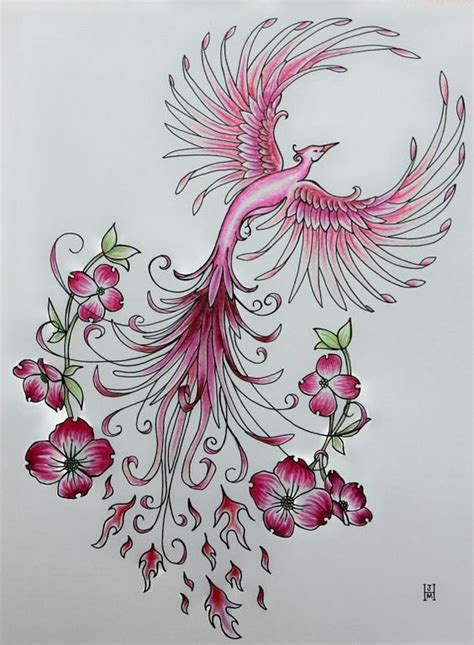 charming girly ping phoenix surrounded with tiny flowers