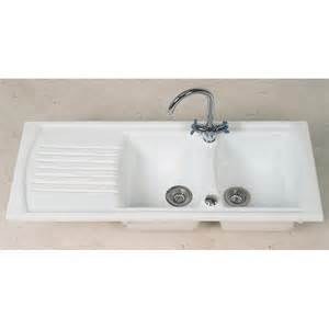 kitchen bowl sink clearwater sonnet double bowl and drainer white ceramic
