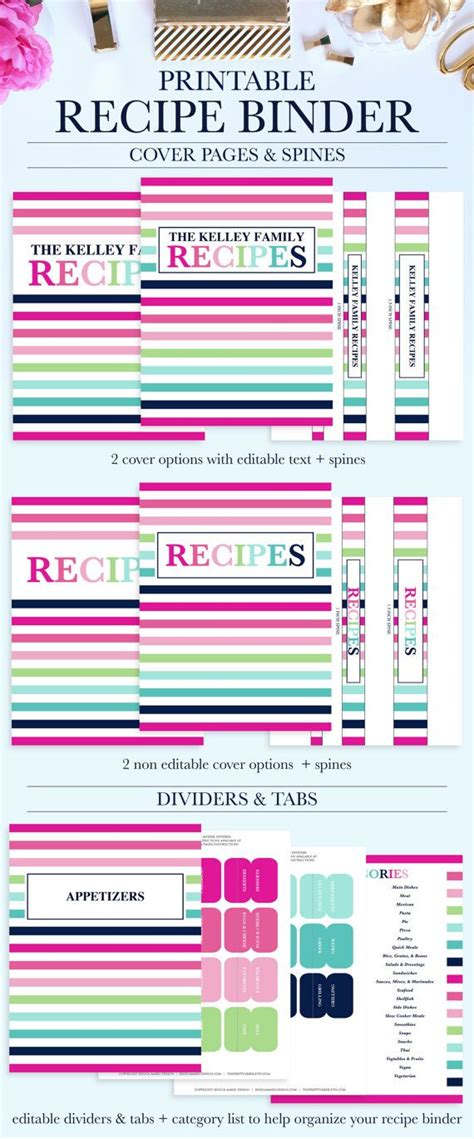 free recipe binder templates printable recipe binder kit personalized family recipe
