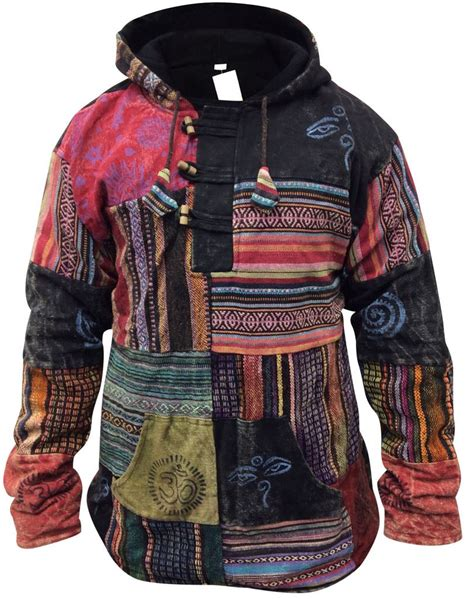 Patchwork Jacket Mens - mens festival winter patchwork fleeced jumper pullover jacket