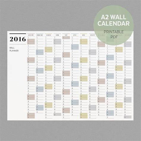 free 2016 wall planner printable a2 wall planner 2016 printable wall calendar by