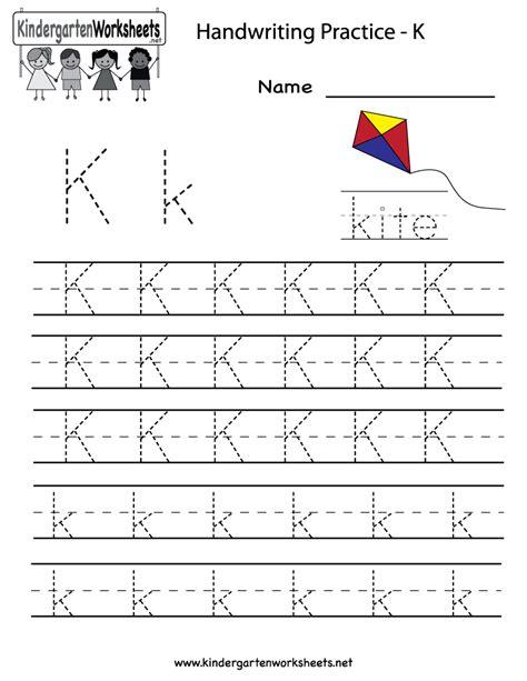 kindergarten letter k writing practice worksheet printable