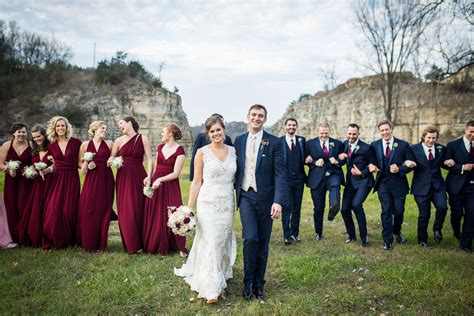 fall bridal party outdoor wedding  burgundy pink