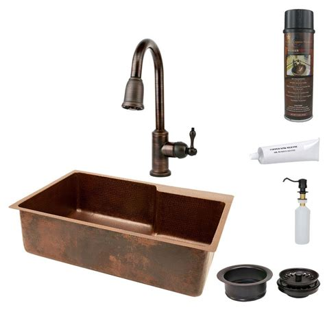 undermount kitchen sink with faucet holes premier copper products all in one undermount hammered