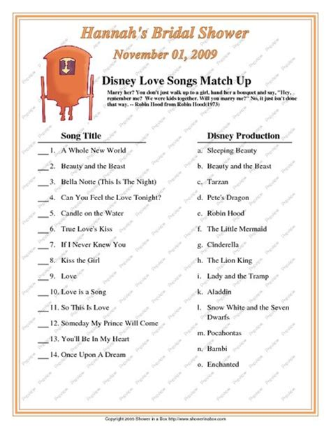 disney themes quiz bridal shower games disney love songs match up game