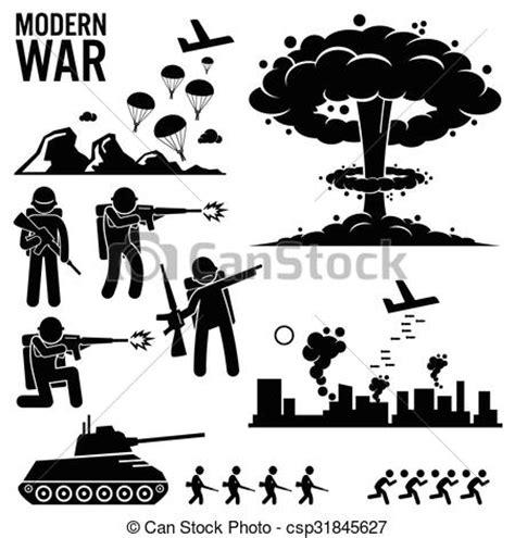 war warfare nuclear bomb cliparts. set of human pictogram