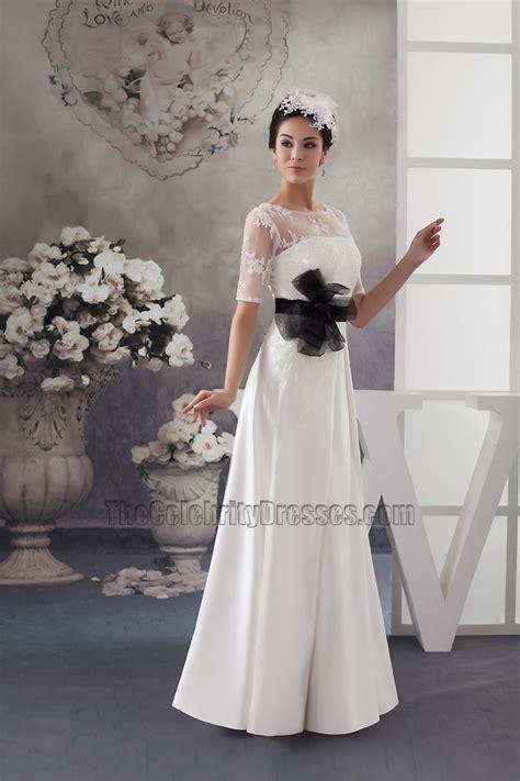 satin lace a line wedding dress with black belt