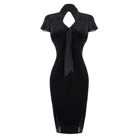 Rok Satin Velvet 28 voodoo vixen new black velvet lace 50s retro fitted wiggle