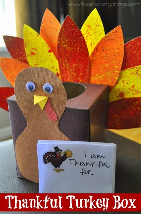 How To Make A Thanksgiving Turkey Out Of Construction Paper - thankful turkey box tutorial i crafty things