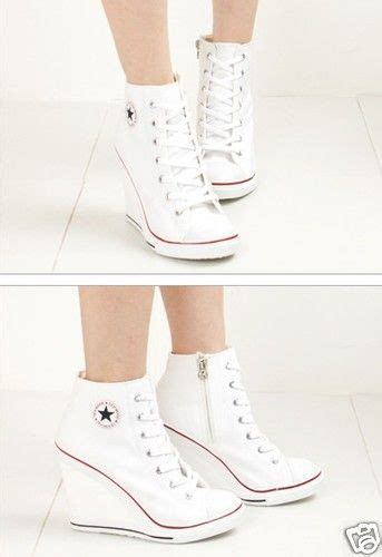 converse wedge high heels wedge high heel high top sneakers tennis shoes white