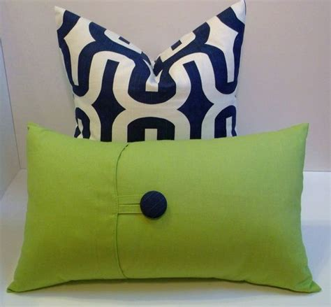 apple green decorative pillows apple green and navy button lumbar 12x20 decorative