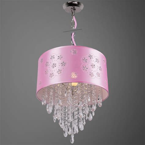 Pink Pendant Light Shade Joshua Marshal 1 Light Pink Drum Shade Pendant In Chrome 7034 From Shaded Light Collection