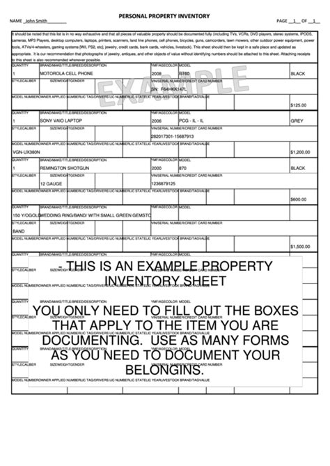 personal property inventory sheet  printable