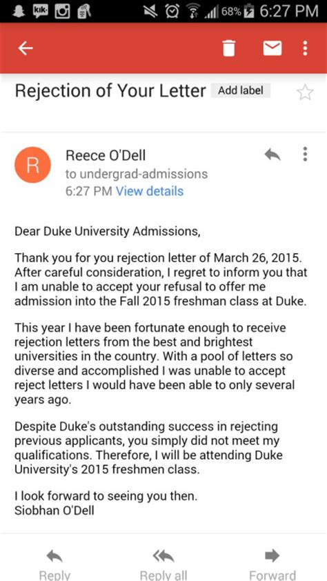 Rejection Letter For Visit I Will Be Attending High School Student Pens Epic Response To College Rejection Letter Photo