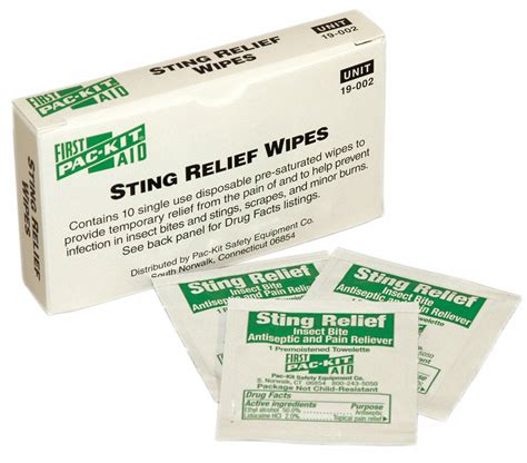 aid  sting relief wipes wipes box wrapped