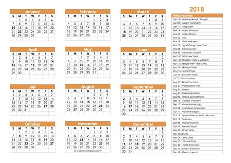 2018 calendar template pdf indian 2018 hindu festivals calendar template free printable