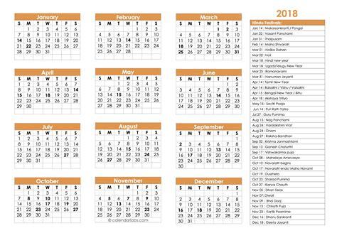 2018 hindu festivals calendar template free printable