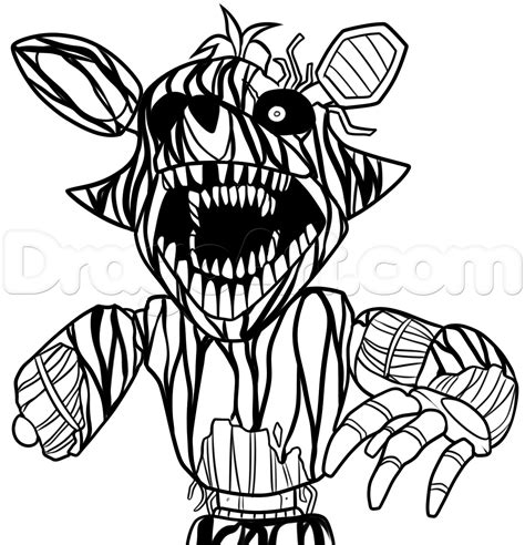 five nights of freddy coloring pages how to draw phantom foxy from five nights at freddys 3