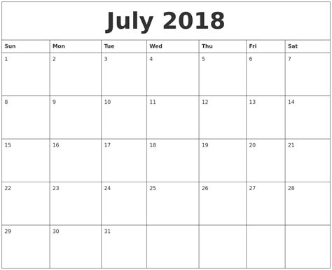 printable calendar 2018 monthly july 2018 free printable monthly calendar