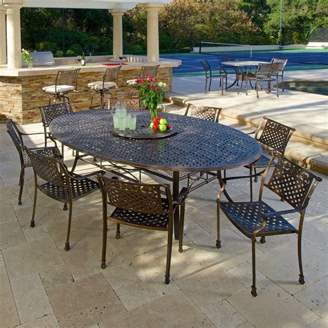Copper Patio Table Outdoor Patio Furniture 10pc Copper Cast Aluminum Dining Set Ebay